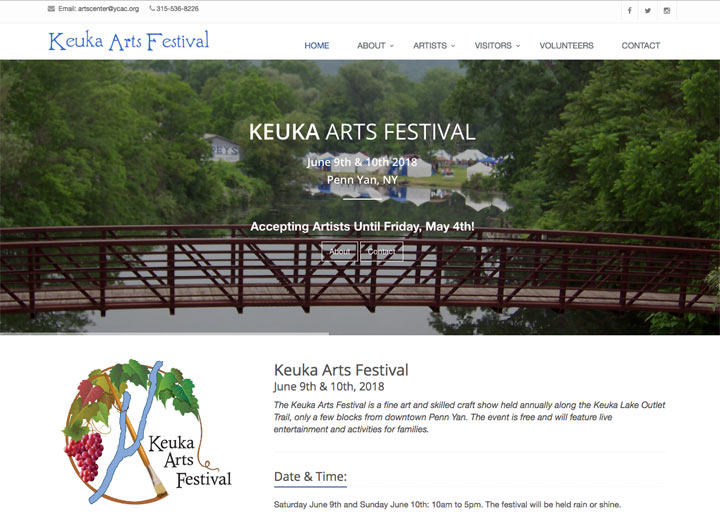 Keuka Arts Festival, Doug Amey Website Design