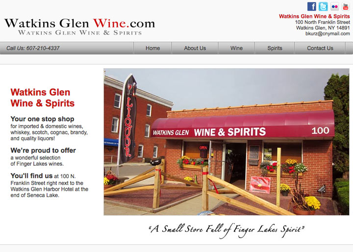 Watkins Glen Wine and Spirits, Website Design